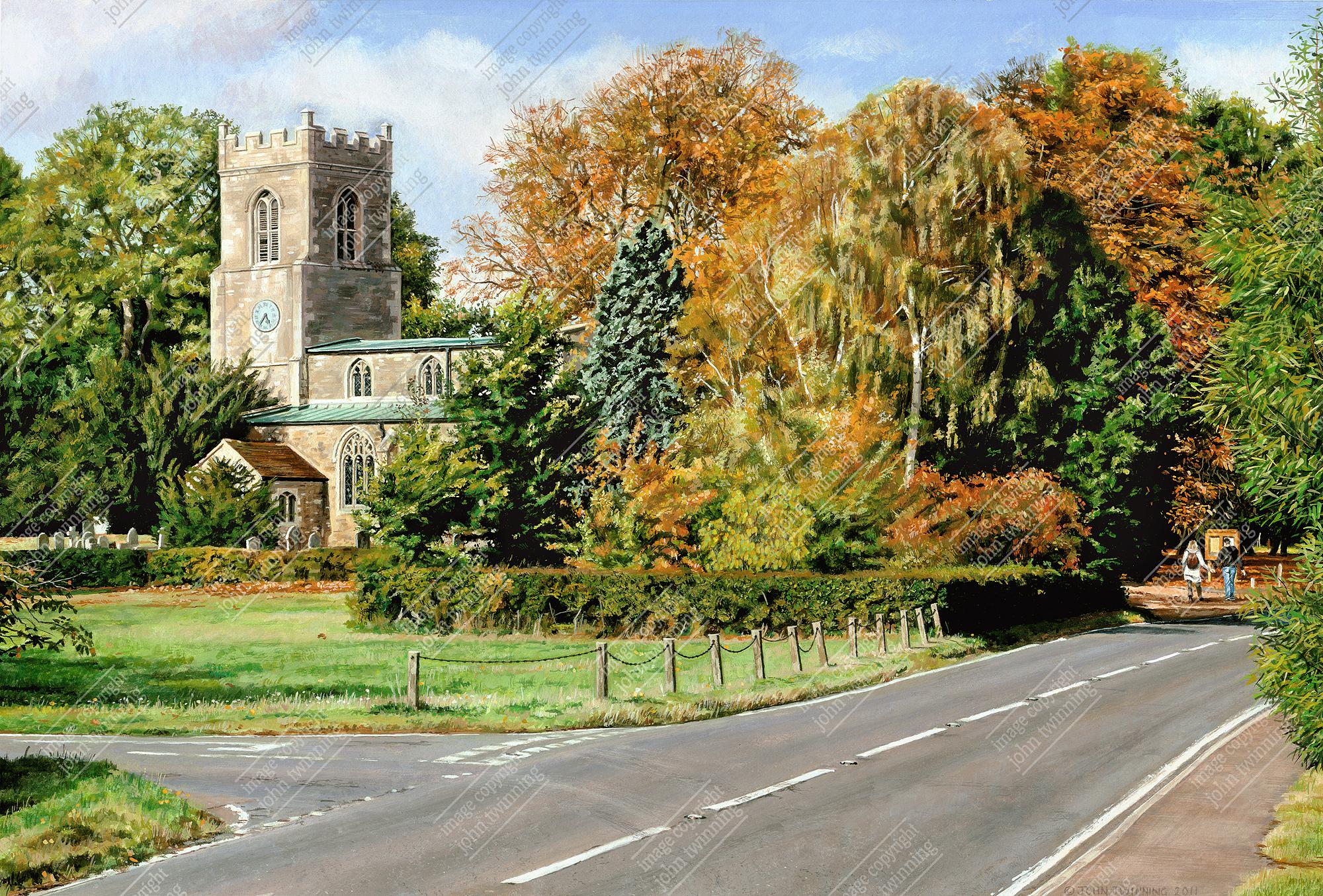Abbots Ripton church at autumn time
