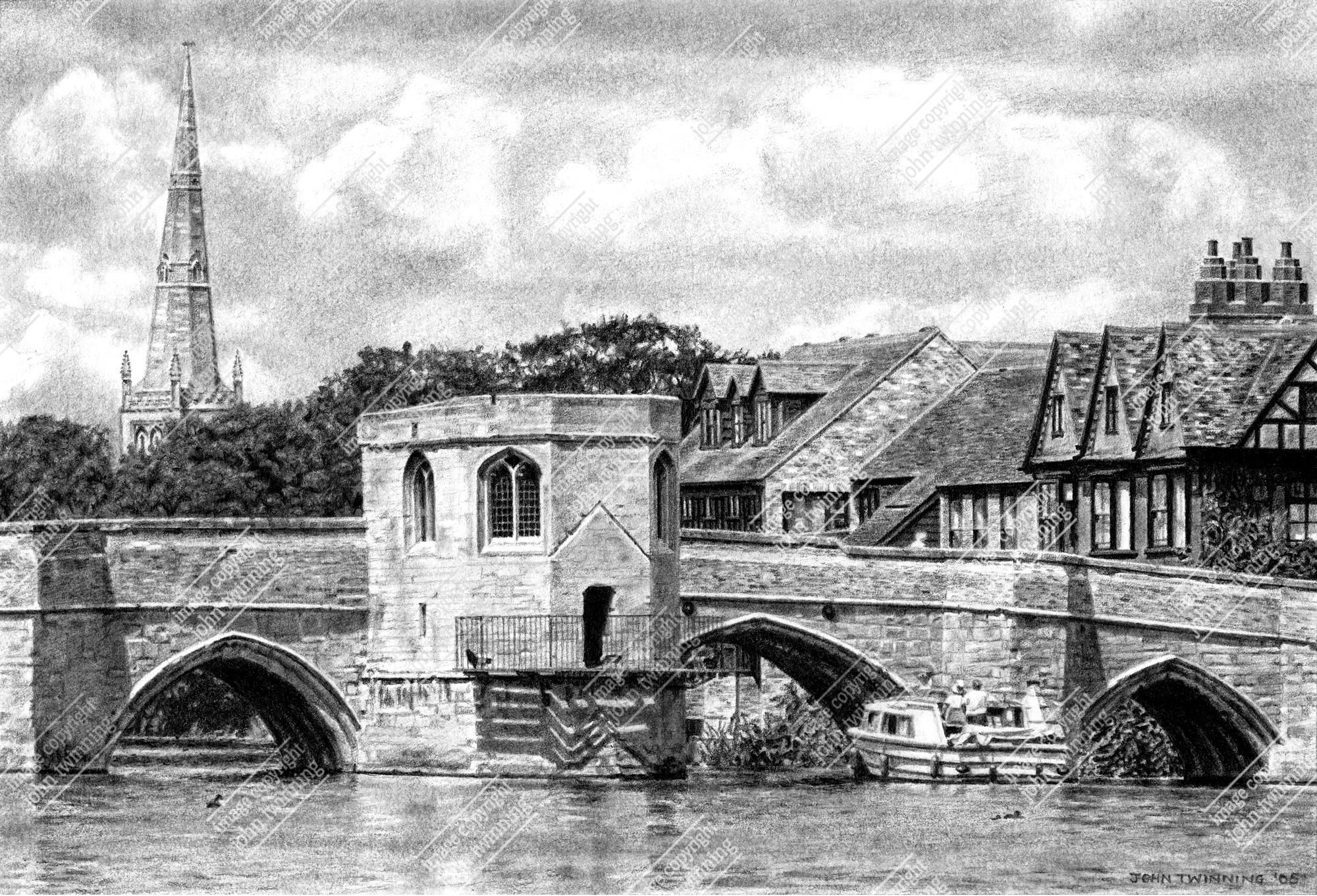 St. Ives bridge and chapel (pencil)