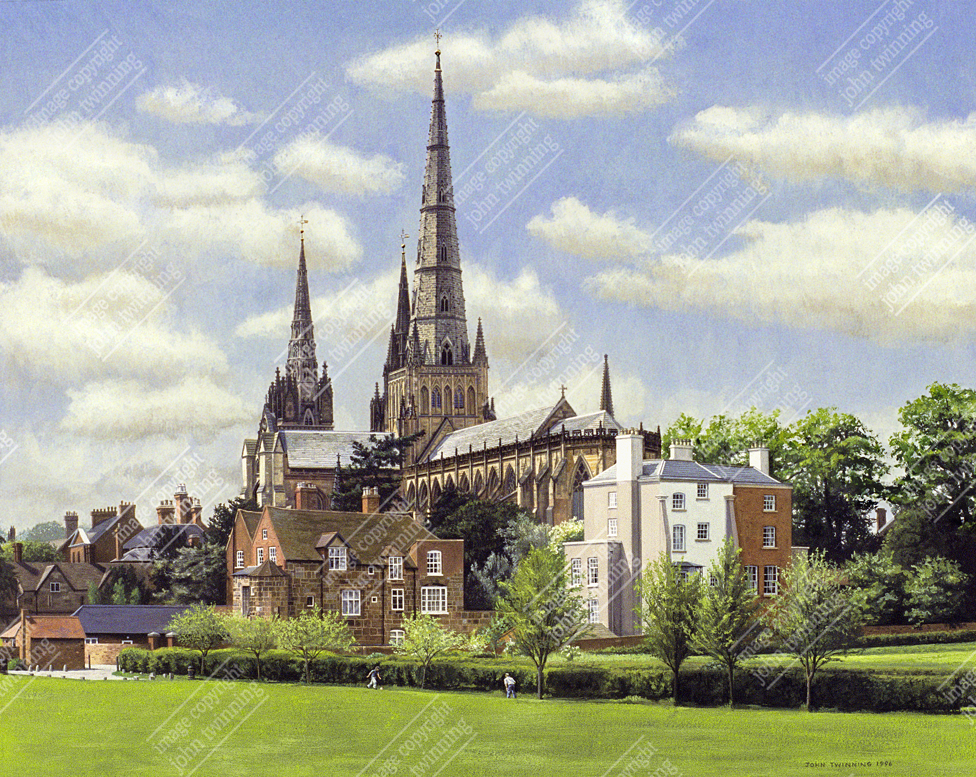 Lichfield Cathedral from Stowe Fields